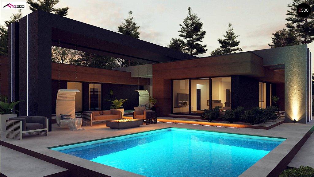 Современный дом с одноуровневой планировкой